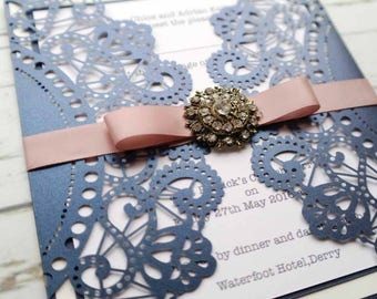Wedding Invitation. Laser cut design Wedding Stationery. Navy & Pink Wedding Invitation