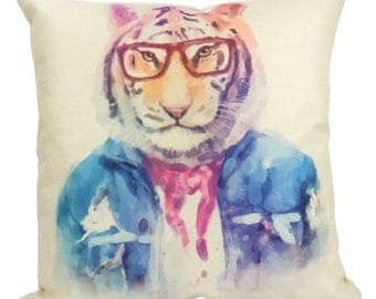 Hipster Tiger - Pillow Cover