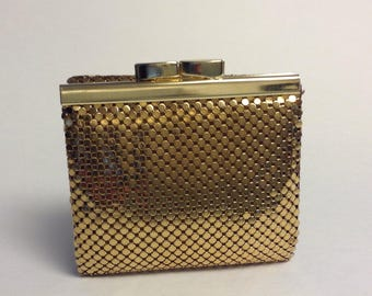 Whiting and Davis, Mesh Mates, Gold Armor Mesh Ladies Wallet, Metallic French Clutch, Collectible Vintage Fashion Accessory, Original Box