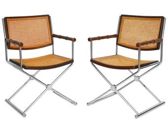 pair of midcentury chrome and caned director chairs