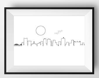 Fort Worth, Fort Worth Skyline, Fort Worth art, Fort Worth print, Fort Worth poster, Fort Worth gift, Fort Worth Illustration, Illustration