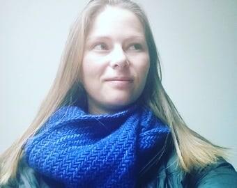 Herringbone Blue 100% Merino Wool Hand Knit Cowl Scarf