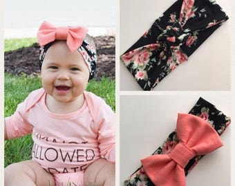 SALE!!! Floral and Coral Turban Headbands