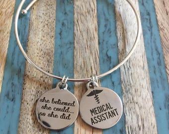 Medical assistant bracelet! Great gift for your favorite medical assistant!