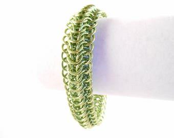Lime Dragonback Bracelet - Lime Green Anodized Aluminum Dragonback Chain Maille Bracelet