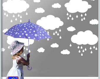 Rainy Clouds Wall Decal - Wall decal clouds - Cloud decals, Clouds vinyl decals - Large Clouds - Bedroom Nursery decor
