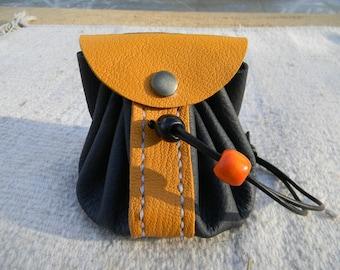 Handmade mustard/dark blue two-tone leather purse