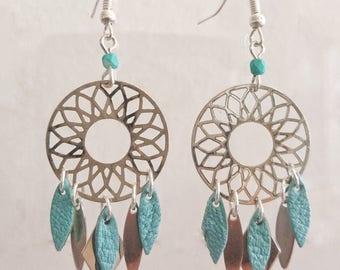 Blue leather silver dreamcatcher earrings