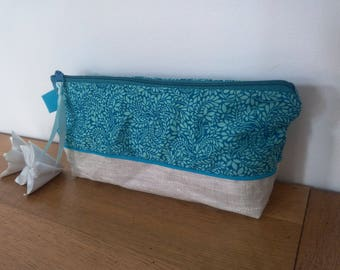 Waterproof pouch for pencils Liberty Blue arabesque