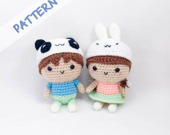 Couple Dolls Crochet Pattern - Amigurumi Doll Pattern - Couple Amigurumi Pattern-  DIY Anniversary Gift - Wedding Crochet Pattern