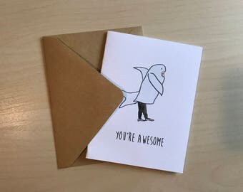 just because card funny card birthday card greeting card cute awesome card shark blank birthday card birthday card for him for her