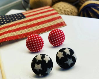 Americana Earrings | Patriotic | Handmade Stud Earrings | Pick Your Pair | 19mm Fabric Cabochon | Red Polkadot | Navy Stars | Made in USA