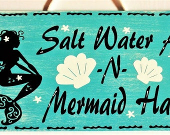MERMAID Salt Water Air & Hair SIGN Plaque WALL Hanger Hanging Ocean Beach Summer Handcrafted Home Deck Pool Patio Decor