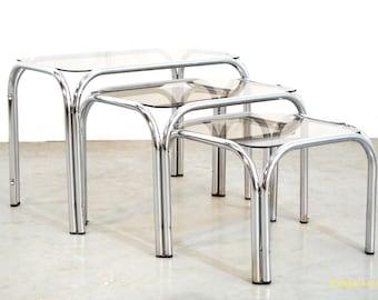Vintage side tables/chrome plated steel tube frame/1970/Mimiset
