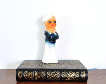 Vintage Chalkware Sailor, 1930s Carnival Prize, Kewpie Sailor Boy