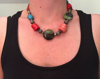 Berber Choker necklace old beads stones and silver