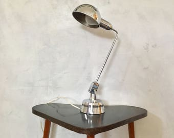 Vintage industrial silver shiny chrome table lamp