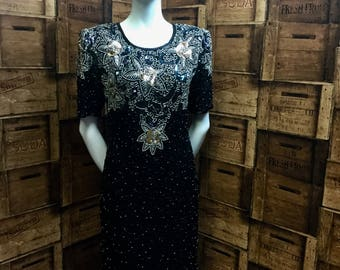 KuKu espirit de soir black gold beaded dress, vintage silk dress, beaded dress, evening dress, vintage black dress, vintage evening dress.