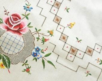 Vintage beige handmade embroidered tablecloth