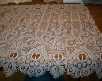 "Antique cotton wide lace 13 1/4 "" wide beautiful pattern"