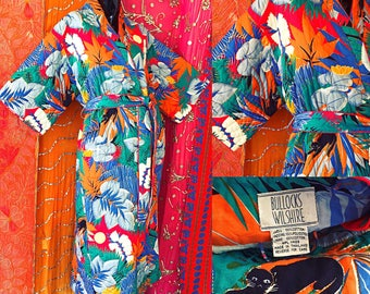 Star Of Siam Bullocks Wilshire Kimono Dress 70s Thai Metallic Panther Tropical Kimono