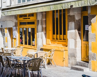 """France Travel Photography, """"Creperie Jaune"""", Gallery Wall Art Prints, Home Decor"""