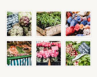 """Paris, France Travel Photography, """"French Market Treasures"""", Set of 6 Square Fine Art Prints, Gallery Wall, Home Decor, Gift"""