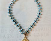 Bracelet - Tiny Mary Magdalene Medal with Baby Blue Parisian Chain - 18K Gold Vermeil