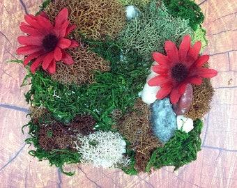 Red Daisy Fall Floral Moss Wall Art OOAK Home Decor