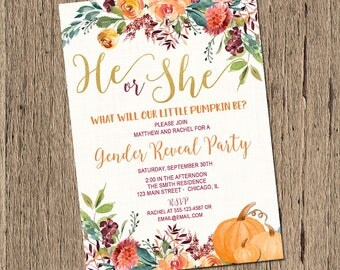 Fall Gender Reveal Invitation, Pumpkin gender reveal invitation, sex reveal invitation, Printable fall gender reveal party invitation