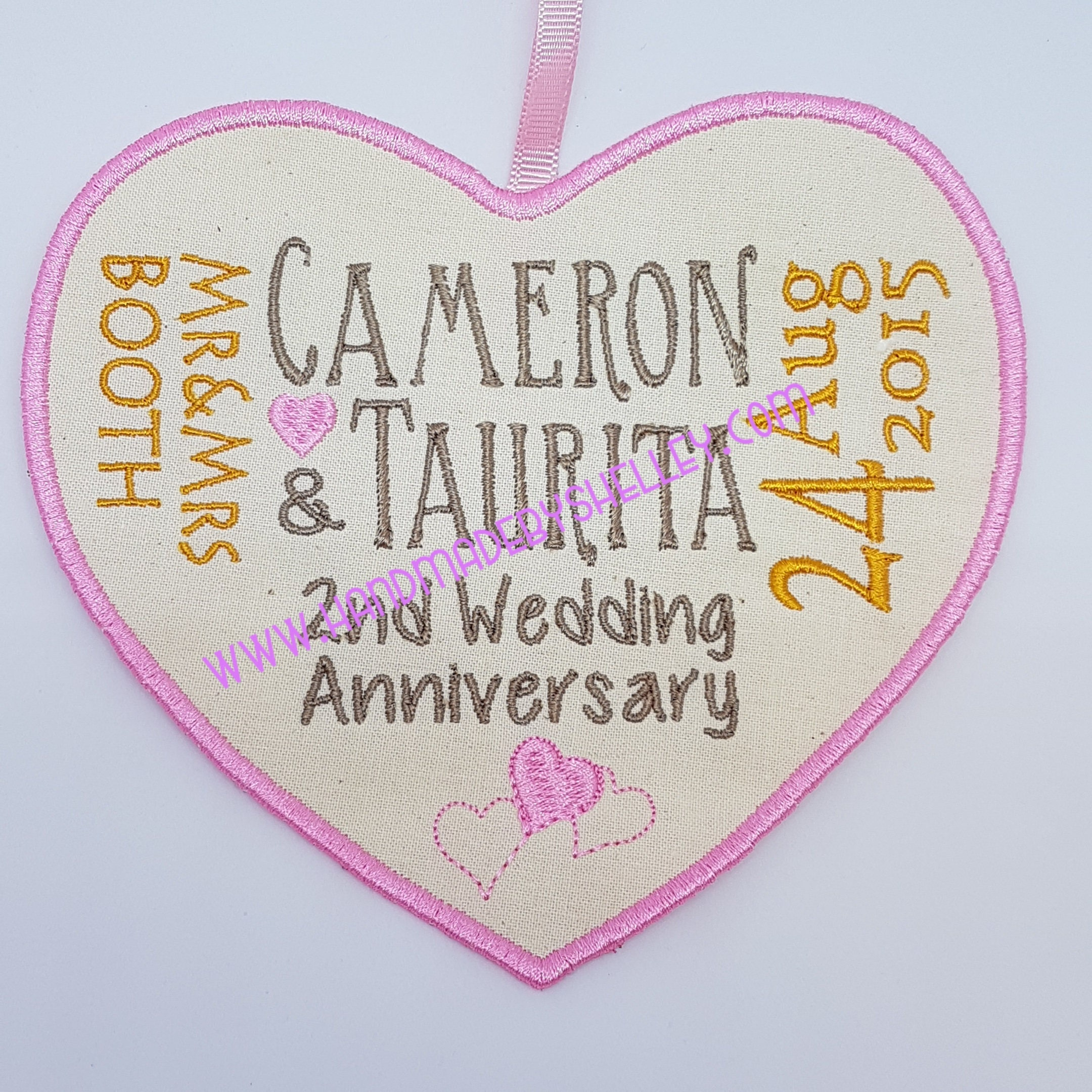 Second Wedding Anniversary Gifts: 2nd Wedding Anniversary Cotton Personalised Heart Gift Husband