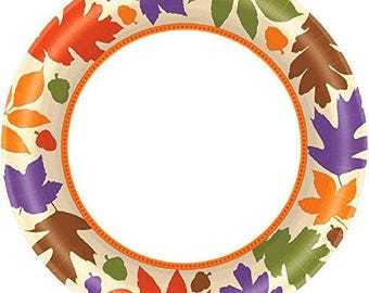 Set Of 8 Sturdy 7 Inch Burst Of Fall Disposable Dessert & Appetizer Plates - Autumn - Fall Leaves - Autumn Paper Plates