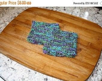 10% OFF SALE Knit Dish Scrubbies Set of 2, Gray Knit Dish Scrubbies, Knitted Dish Scrubbies Blue Green