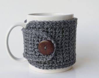 Rustic Grey Mug Cozy, Crochet Mug Cozy, Tea Gift, Coffee Gift, Office Gift, Teacher Gift, Grey Cozy, Holiday Gift