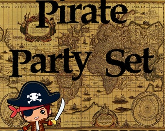 Pirate Party Set, Instant Download, Printable Party Set, Digital Pirate Party Set