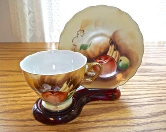 Vintage Teacup & Saucer~Hand Painted Teacup and Saucer~Enesco E1432 Fruit Pattern~Enesco Teacup and Saucer~Fruit Teacup and Saucer~Tea Party