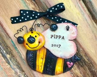 Keepsake Personalized Bumble Bee Polymer Clay Ornament
