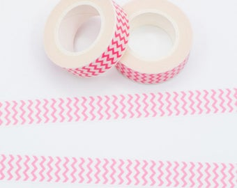 Masking tape pink zigzag 10 m - Washi tape chevron pink