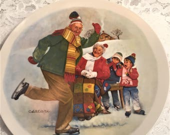 The Skating Lesson, Second Issue in the Csatari Grandparent Plate Series by Joseph Csatari for Knowles China, 1981.