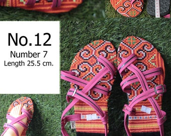 Shoes Slippers Traditional Hill tribe Fabric/ size 7 /Length 25.5 cm.( Please select the number No.06/No.07/No.08/No.09/No.10/No.11/No.12)