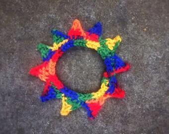 Rainbow Cat Collar Elastic Pet Necklace Crochet Small Dog Collar Unique Handmade Pet Accessories