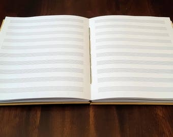 7x8.5 Music Staff Paper Journal (10 Staves): Handmade Coptic-Bound Music Staff Paper Book for Composers and Musicians.