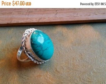 SUMMER CLEARANCE SALE Turquoise   Size 5 1/4 Ring Gemstone. 925 Sterling  Silver Sale