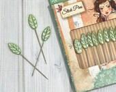 Decorative Straight Pins, box of 10 - Santoro Willow, Leaf Head Pins, Stick Pins, Pincushions, Hat Pins, Corsage Pins