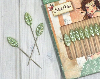 Decorative Straight Pins, box of 10 - Santoro Willow, Leaf Head Pins, Stick Pins, Pincushions, Hat Pins, Corsage Pins