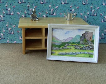 Original dollhouse painting. Miniature watercolour. 1/12 scale. DOLBADARN CASTLE . Artist Pauline Whiteley. Dolls house art. Miniature art.