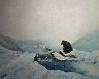 """Original 16 x 20 acrylic painting on stretched canvas, """"bear"""""""