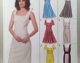 Dress Pattern, Vogue 8648, Sewing Pattern,  Square Neck Dress, Spring Dress, Princess Seams, Plus Size Pattern, Mid Knee, High Waisted