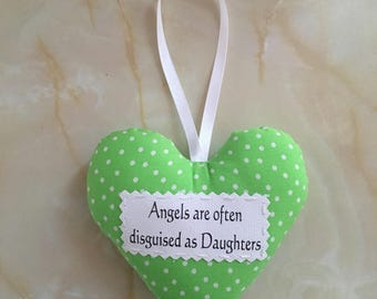 Daughter heart, Daughter gift, padded heart, Gift box option