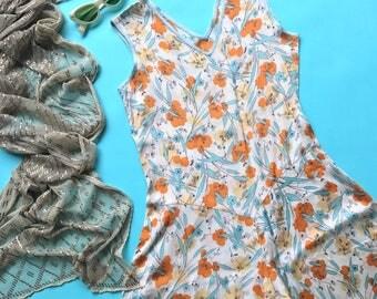 RARE 1920s Beach Pajamas / 20s Silk Culotte Beach Pyjamas / 1930s Printed Jumpsuit